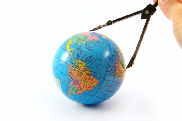 globe distance measure orientate navigate concept isolated