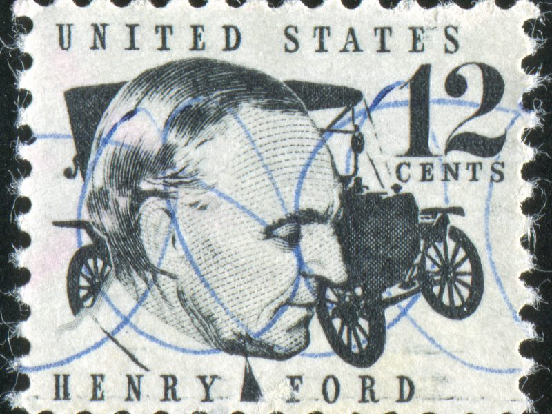 UNITED STATES - CIRCA 1965: stamp printed by United States of America, shows Henry Ford and a car, circa 1965
