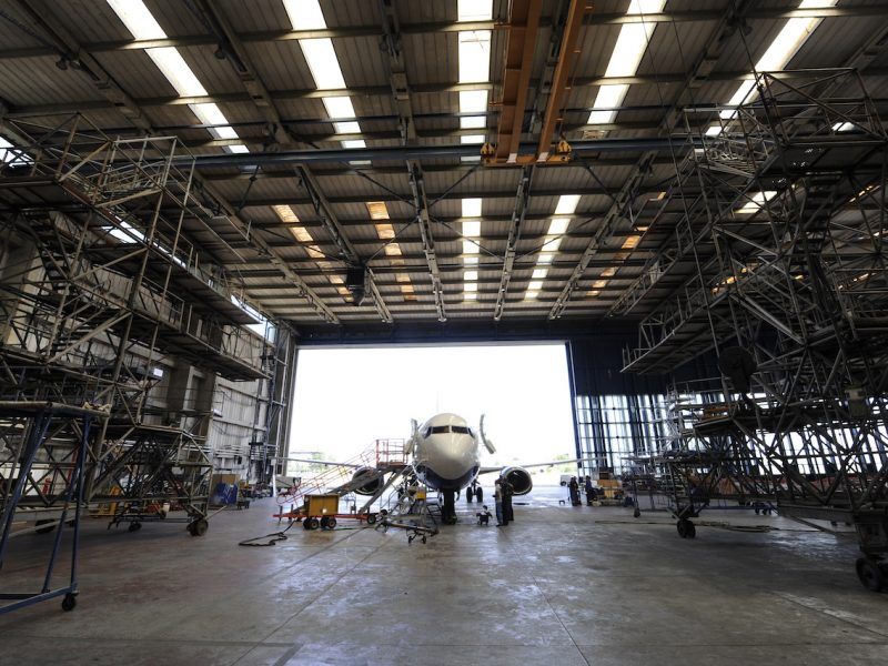 Airplane in hangar