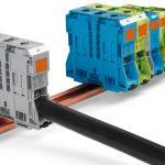 ワゴ スプリング式大電流用端子台 最大200の太線接続に対応