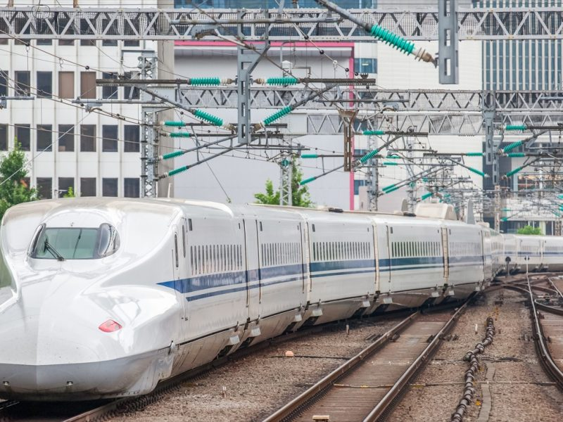 The Shinkansen bullet train network of high-speed railway lines in Japan