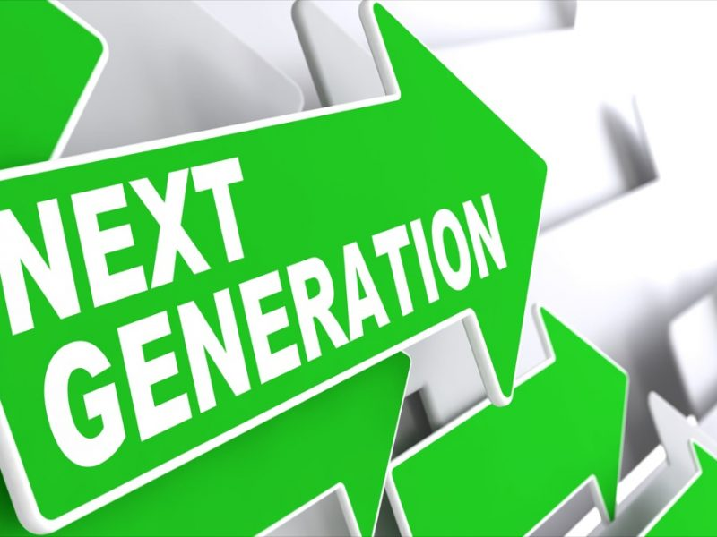 Next Generation. Green Arrows with Slogan on a Grey Background Indicate the Direction.