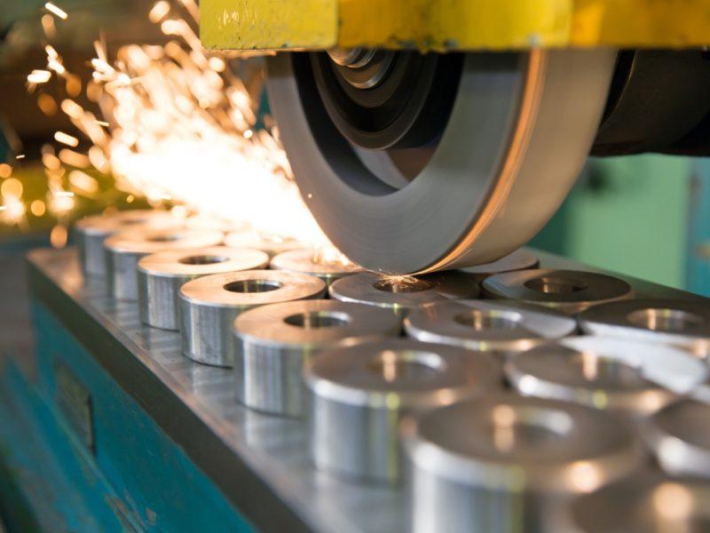 finishing metal working on horizontal surface grinder machine