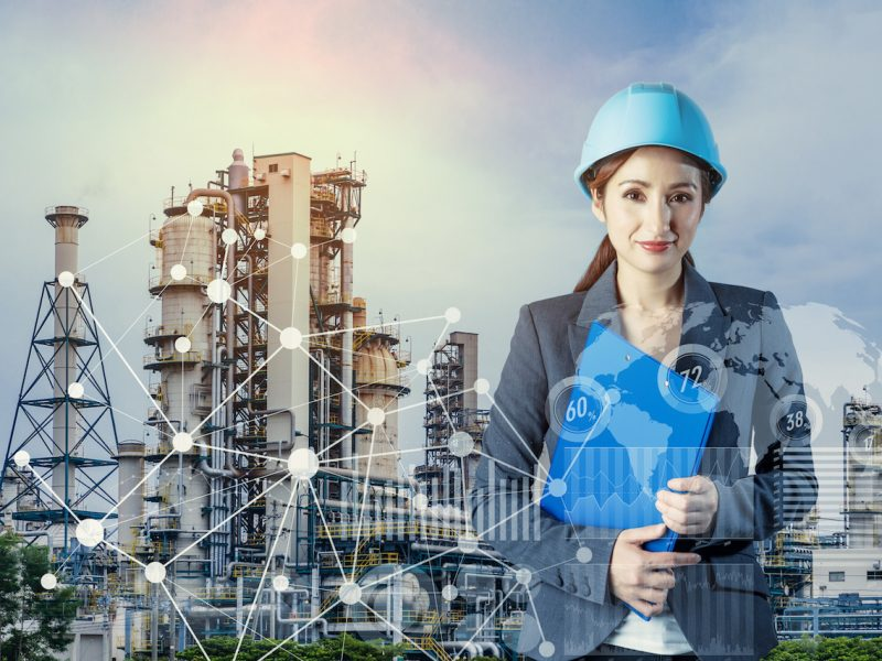 factory building and woman engineer. smart factory.