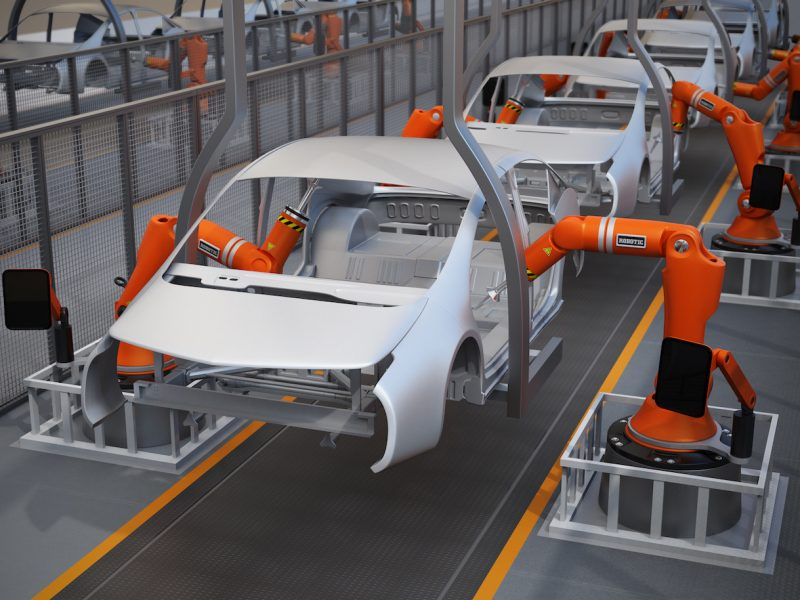 Electric vehicles body assembly line. 3D rendering image.