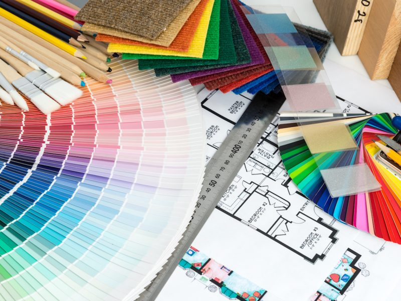 Selection of colors and materials for design and home renovation