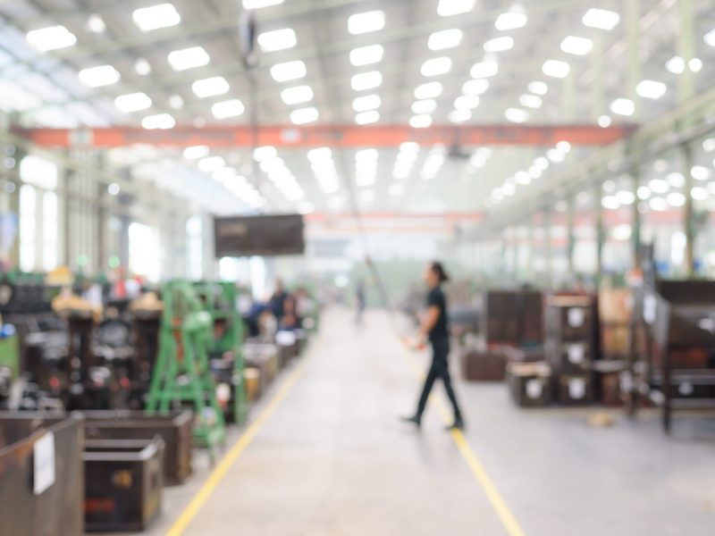 Blurred or defocused manufacturing factory