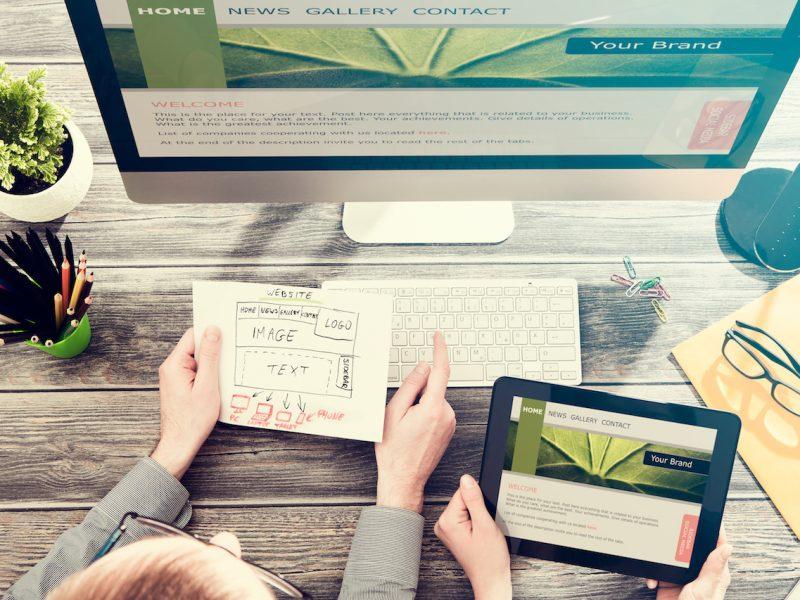 Designer's desk with responsive web design concept.