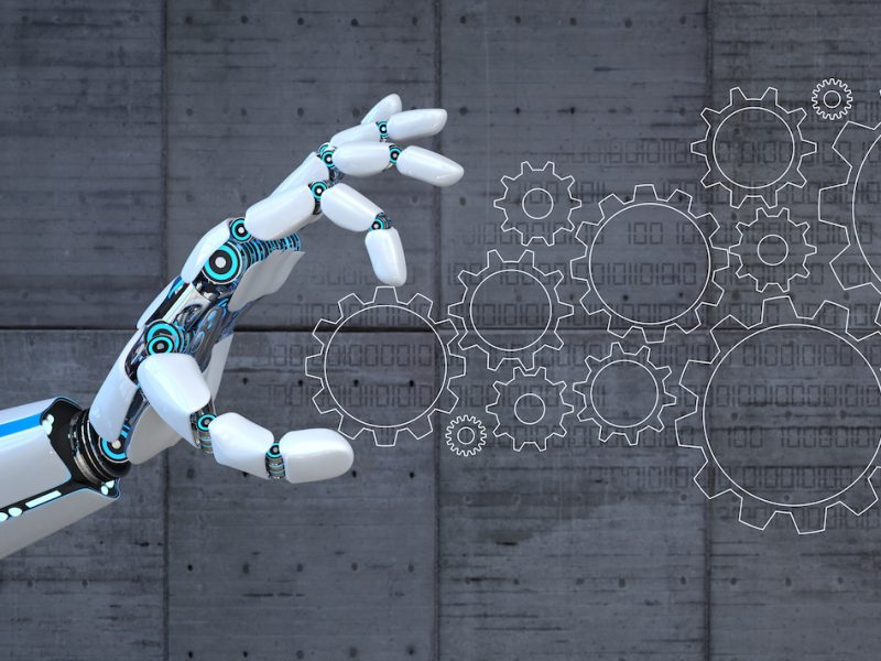 Hand of the robot with flat gears on the concrete background. 3d illustration.