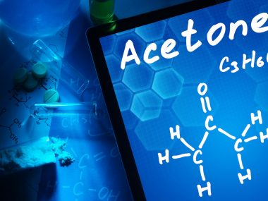Tablet with the chemical formula of Acetone.