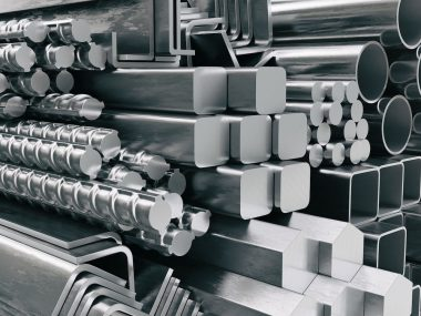 Metal profiles and tubes. Different stainless steel products. 3d illustration