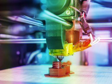 Printing 3D printer object plastic. Plastic Wire Film, Modern technology.