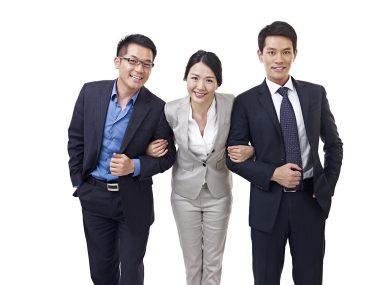 studio portrait of an asian business team.