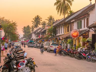 Street in old town Luang Prabang, Laos at sunset