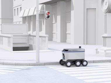 Self-driving delivery robot moving on the street. 3D rendering image.