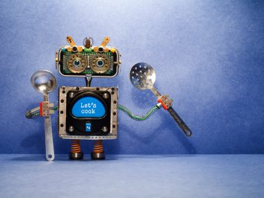 Robot chef with ladle skimmer and message Let's cook. Creative design robotic toy holds kitchen utensils on blue background. Copy space