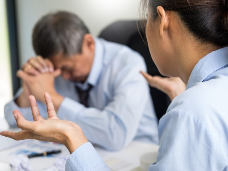 working in the office. Manager is not satisfied the argument. Business complaining in discuss during their no reason about mad group of team After office conflict against madly manager.team leader dissatisfied with report