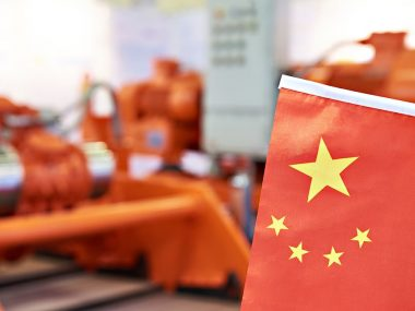 Chinese flag on industrial equipment