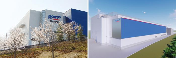 工場情報_ロート製薬_上野テクノセンター(左)と新工場棟完成予想図