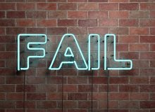 FAIL - fluorescent Neon tube Sign on brickwork - Front view - 3D rendered royalty free stock picture. Can be used for online banner ads and direct mailers.