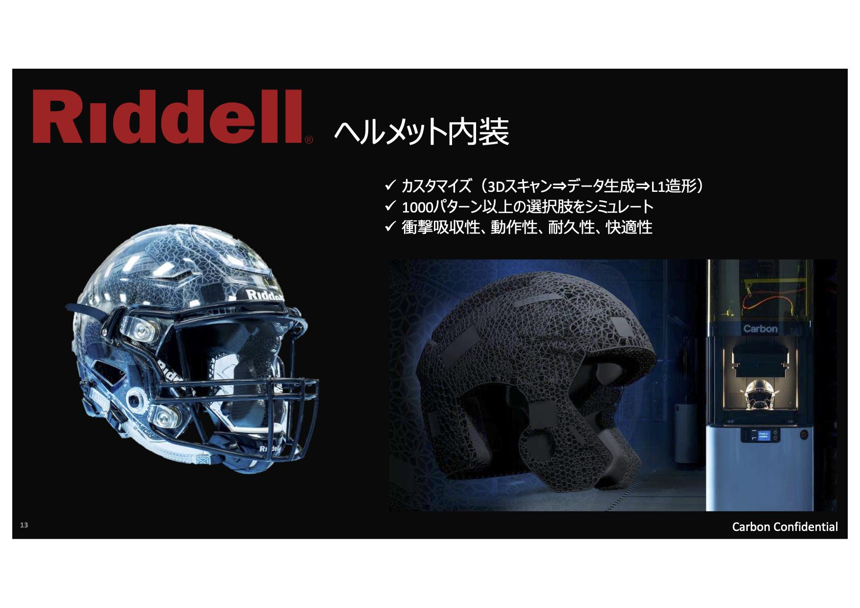 Riddell ヘルメット内装の事例