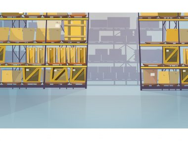Large warehouse room with boxes on shelves vector illustration. Modern storage room with packaged goods on pallets for export. Interior illustration